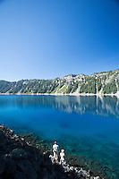 Fly fishing Crater Lake, Oregon.