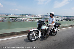 Vinnie Grasser of FL on his 1916 Harley-Davidson during the Motorcycle Cannonball Race of the Century. Stage-1 from Atlantic City, NJ to York, PA. USA. Saturday September 10, 2016. Photography ©2016 Michael Lichter.