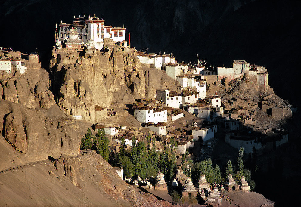The last light of day spotlights Lamayuru Monastery, on the road from Srinagar to Leh in Ladakh, India.