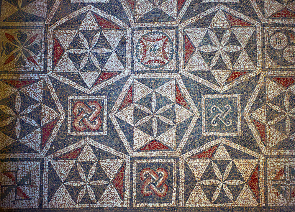 Close up picture of the Roman mosaics of the Interlying Utility Room depicting geometric mosaic patterns, room no 18 at the Villa Romana del Casale, first quarter of the 4th century AD. Sicily, Italy. A UNESCO World Heritage Site. .<br /> <br /> If you prefer to buy from our ALAMY PHOTO LIBRARY  Collection visit : https://www.alamy.com/portfolio/paul-williams-funkystock/villaromanadelcasale.html<br /> Visit our ROMAN MOSAICS  PHOTO COLLECTIONS for more photos to buy as buy as wall art prints https://funkystock.photoshelter.com/gallery/Roman-Mosaics-Roman-Mosaic-Pictures-Photos-and-Images-Fotos/G00008dLtP71H_yc/C0000q_tZnliJD08