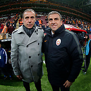 Galatasaray's Coach Hamza Hamzaoglu (R) and Istanbul Basaksehir's coach Abdullah Avci (L) during their Turkish Super League soccer match Galatasaray between Istanbul Basaksehir at the AliSamiYen Spor Kompleksi TT Arena at Seyrantepe in Istanbul Turkey on Saturday, 14 March 2015. Photo by Aykut AKICI/TURKPIX