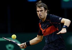 12-09-2014 NED: Davis Cup Nederland - Kroatie, Amsterdam<br /> Mate Delic wint zijn eerste partij met 3-1