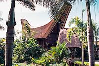 Bali, Gianyar, Batubulan. Exhibition of a traditional Toraja house from Sulawesi at the Bali Bird Park.
