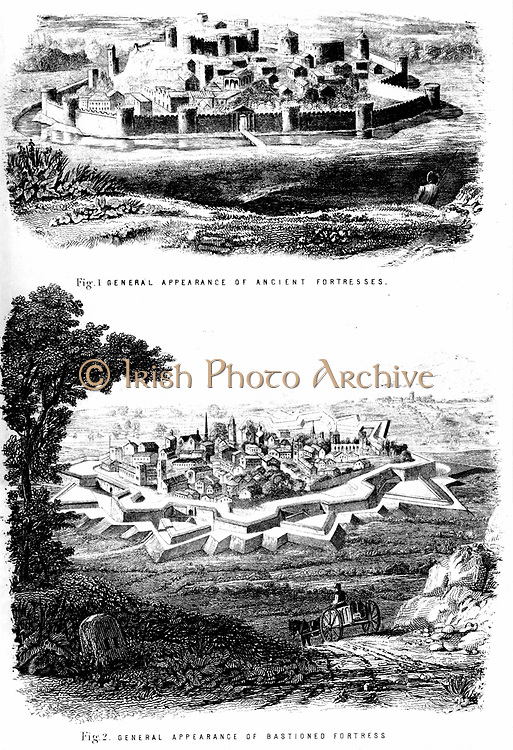 Fortifications: Ancient fortress with curtain walls, top, and bastioned fortress, bottom. Engraving c1880
