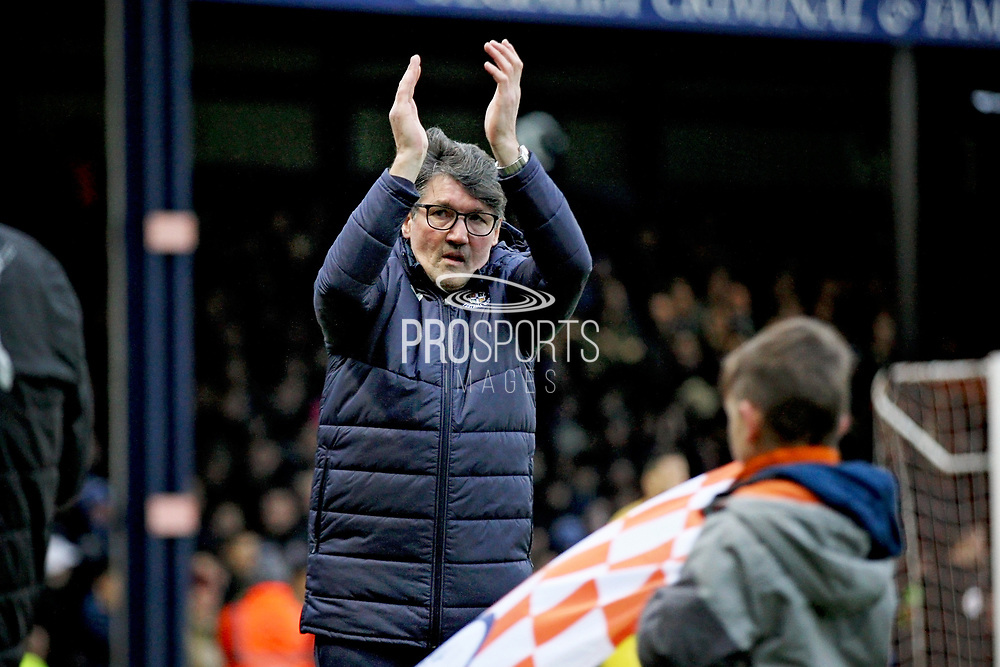 Luton Town FC interim manager Mick Harford claps the fans before the EFL Sky Bet League 1 match between Luton Town and Peterborough United at Kenilworth Road, Luton, England on 19 January 2019.