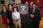 Houston ISD Superintendent Richard Carranza and Trustee Jolanda Jones pose for a photograph with the Lanier family during a renaming ceremony at Bob Lanier Middle School, September 21, 2016.