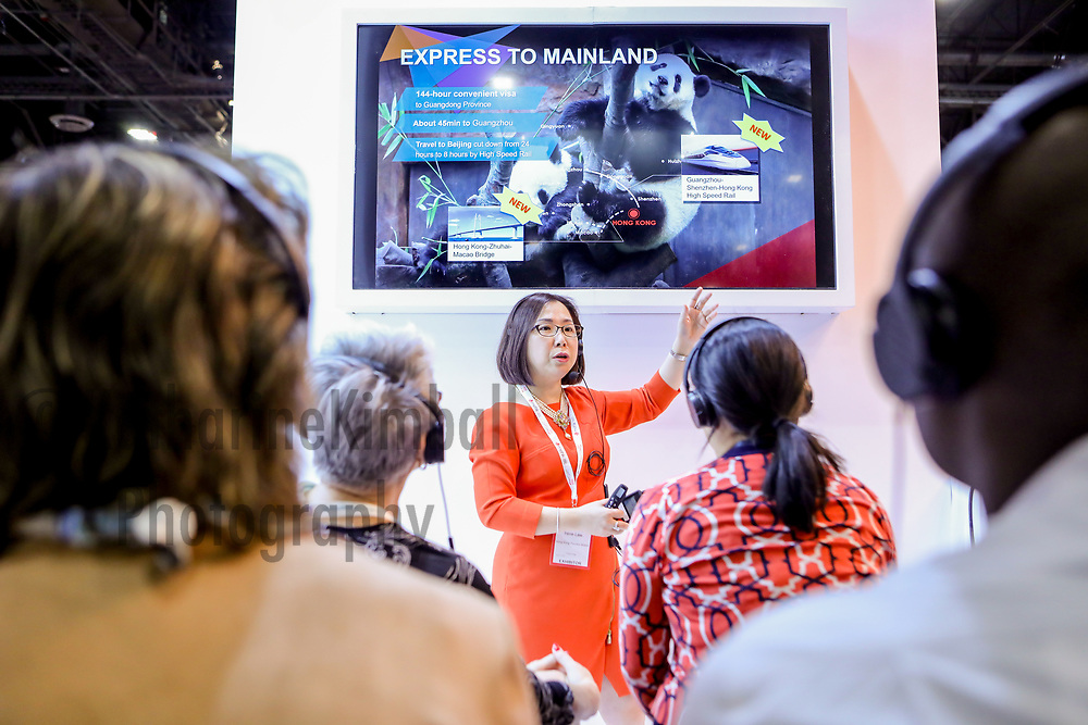 Hong Kong Tourism board presents to attendees at the IMEX America Expo.