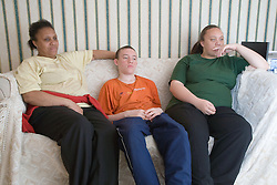 Family watching television,