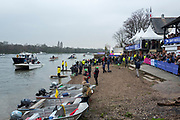 Greater London. United Kingdom, General View the beach at Quintin BC and Mortlake Anglian, Alpha BC.  Women's  University Boat Race , Cambridge University vs Cambridge University Putney to Mortlake,  Championship Course, River Thames, London. <br /> <br /> Saturday  24.03.18<br /> <br /> [Mandatory Credit:Peter SPURRIER/Intersport Images]