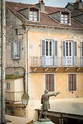 High angle view of statue of Vincentello dIstria, Place Gaffory, Corte, Corsica, France