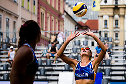 Tjasa Kotnik of Slovenia passing ball during Beach Volleyball World Tour in Ljubljana 2020, on August 1, 2020 in Kongresni trg, Ljubljana, Slovenia. Photo by Grega Valancic / Sportida