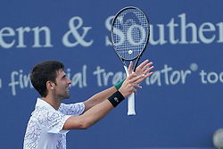 August 19, 2018 - Mason, Ohio, USA - Novak Djokovic (SRB) reacts after winning Sunday's final at the Western and Southern Open at the Lindner Family Tennis Center, Mason, Oh. (Credit Image: © Scott Stuart via ZUMA Wire)