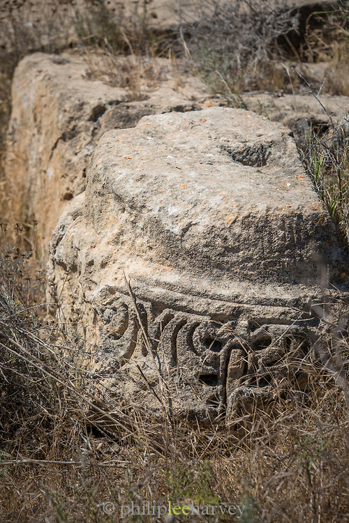 Close-up of pattern carved into stone at old ruin, Paphos Archaeological Park, Paphos, Cyprus