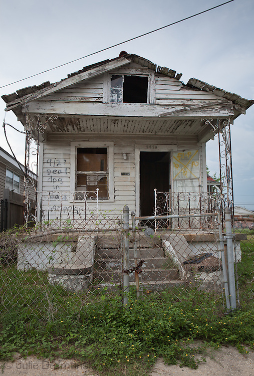 A blighted house in the lower 9th ward remains standing almost six year after Hurricane Katrina. As the six year anniversary of Hurricane Katrina nears  blight remains in New Orleans. Many of the programs to remove blight and help the city recover are federally funded and will face cuts because of the economic decline.