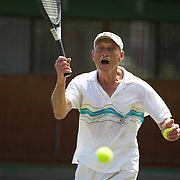 John Elms, Canada, in action in the 85 Mens Singles during the 2009 ITF Super-Seniors World Team and Individual Championships at Perth, Western Australia, between 2-15th November, 2009.