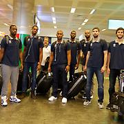 Turkish Basketball team Anadolu Efes's players seen during their Ataturk Airport in Istanbul Turkey on Wednesday 09 September 2015. Photo by Kurtulus YILMAZ/TURKPIX