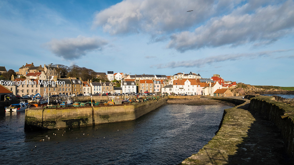 View of historic fishing harbour at Pittenweem on East Neuk of Fife in Scotland, United Kingdom.