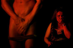 A male stripper performs in New York.