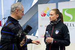 Bojan Matevzic and Tina Pisnik during press conference of Team Slovenia before playing in Zone Group 1 of Fed Cup tournament in Budapest on January 29, 2014 in BTC City, Ljubljana, Slovenia. Photo by Vid Ponikvar / Sportida