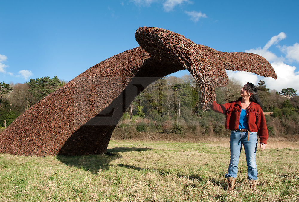 © Licensed to London News Pictures. 11/02/2016. Bristol, UK.  Lead artist and managing director of Cod Steaks, SUE LIPSCOMBE, at the unveiling of The Bristol Whales in their new home by the A4 Portway, Bristol. The dramatic sculptures were installed in Millennium Square for six weeks during the summer of 2015 to mark Bristol's status as the UK's first European Green Capital. After a brief absence, the whales have resurfaced near Sea Mills and taken up permanent residence at Bennett's Patch and White's Paddock Nature Reserve, also known as the 'people's nature reserve', which was created by Avon Wildlife Trust during 2015 to mark the city's Green Capital status. The location is particularly fitting given the area's whaling history, which dates back to the 18th century. Around 250 years ago, the River Avon would have been full of the tall-masted ships that made Bristol wealthy, one of which moored at nearby Sea Mills – a whaler. In 1750, Bristol merchants entered the whaling trade, and the ship Adventure brought back two whales, which were rendered to blubber at Sea Mills. The venture continued there for almost 50 years. Photo credit : Simon Chapman/LNP