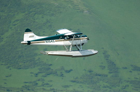 Float plane taking tourists to see brown bears in Katmai National Park. Alaska.