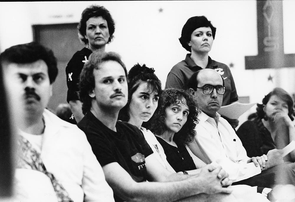 ©1991  Public hearings on school closings before the Austin ISD school board.
