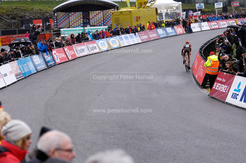 Belgium, Sunday 13th December 2015: Wout Van Aert on the Raidillon corner climb during the elite men's race at the Hansgrohe Superprestige cyclocross races at Spa Francorchamps.<br /> <br /> Copyright 2015 Peter Horrell
