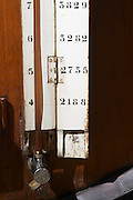 measuring tube on wooden vat sandeman port lodge vila nova de gaia porto portugal