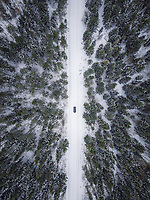 Aerial view of a car driving on a snowy road surrounded by the forest in Estonia.