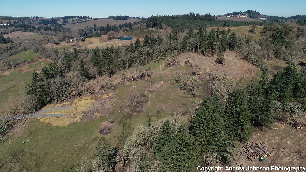Aerial view planting new chardonnay and pinot noir vineyard for St. Innocent winery in Southern Willamette Valley, Oregon