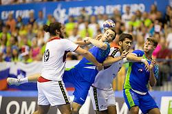 Marko Kotar of Slovenia during handball match between National teams of Portugal and Slovenia in Semifinal of 2018 EHF U20 Men's European Championship, on July 27, 2018 in Arena Zlatorog, Celje, Slovenia. Photo by Urban Urbanc / Sportida