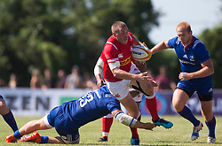 June 16, 2018 - Ottawa, ON, U.S. - OTTAWA, ON - JUNE 16: Nick Blevins (12 Centre ) of Canada fends of a Russian tackle in the Canada versus Russia international Rugby Union action on June 16, 2018, at Twin Elms Rugby Park in Ottawa, Canada. Russia won the game 43-20. (Photo by Sean Burges/Icon Sportswire) (Credit Image: © Sean Burges/Icon SMI via ZUMA Press)