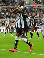 NEWCASTLE UPON TYNE, ENGLAND - SEPTEMBER 17: Allan Saint-Maximin of Newcastle United shoots wide of goal during the Premier League match between Newcastle United and Leeds United at St. James Park on September 17, 2021 in Newcastle upon Tyne, England. (Photo by MB Media)