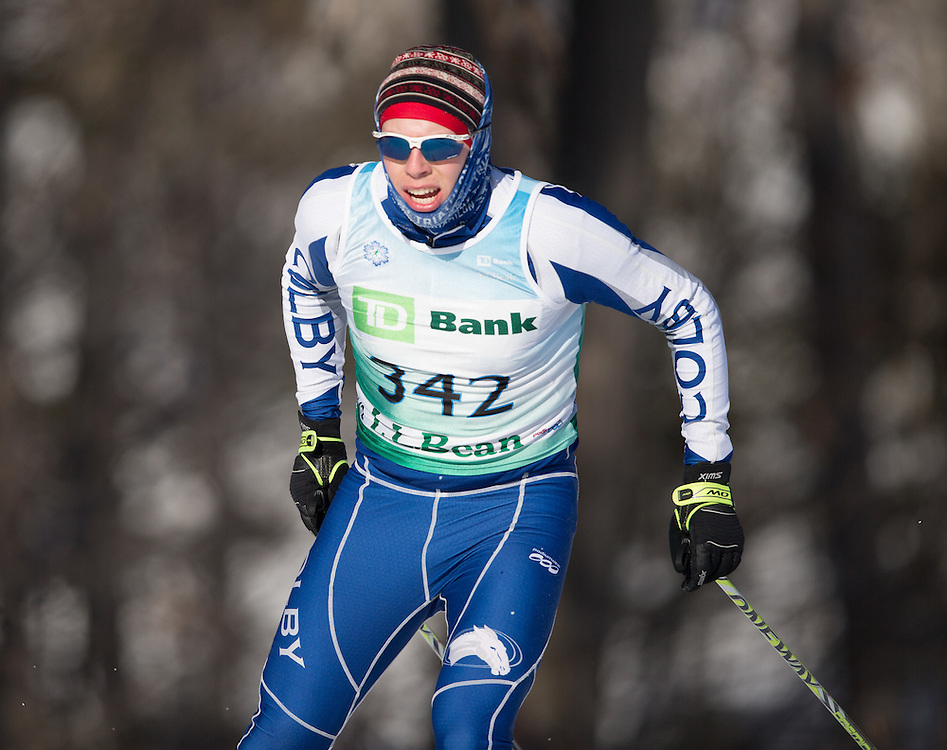 Silas Eastman skis during the Bates College Winter Carnival Men's 10k Freestyle at Black Mountain on January 17, 2015 in Rumford, ME. (Dustin Satloff/Colby College Athletics)