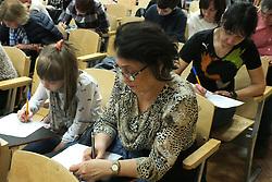 April 14, 2018 - Riga, Latvia, Latvia - Latvia, Riga, 14.04.2018. Total dictation of the Russian language at the Baltic International Academy. (Credit Image: © Russian Look via ZUMA Wire)