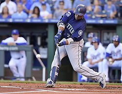 August 4, 2017 - Kansas City, MO, USA - The Seattle Mariners' Robinson Cano connects on his 500th career double, in the first inning against the Kansas City Royals at Kauffman Stadium in Kansas City, Mo., on Friday, Aug. 4, 2017. (Credit Image: © John Sleezer/TNS via ZUMA Wire)