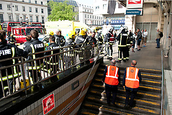 © licensed to London News Pictures. LONDON, UK  01/05/2011. 12 London Fire Brigade engines including a hazardous material response team, London Ambulance and London Underground staff attend a chemical incident at Charing Cross Tube Station. They were called at 3pm. Dust was seen in the station but after testing by London Underground was found to be harmless. The station remains closed. Please see special instructions for usage rates. Photo credit should read Michael Graae/LNP