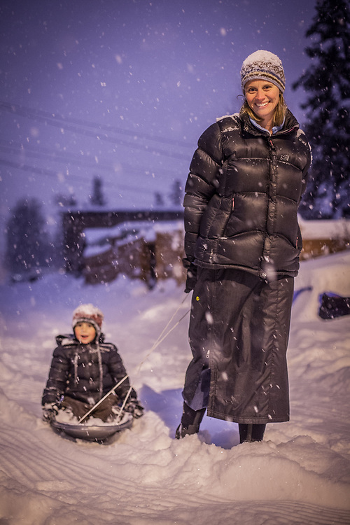Meghan Cornelison and her five year old son Jacob during a snow storm in Anchorage's South Addition neighborhood  mecornelison@yahoo.com