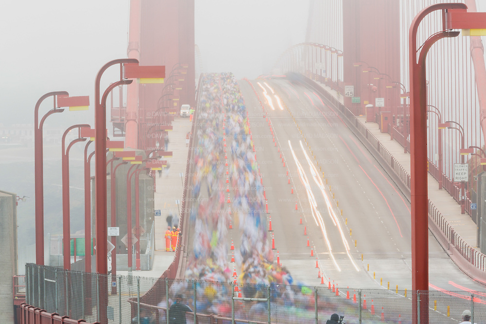 SAN FRANCISCO -  JULY 29:  Runners cross the Golden Gate Bridge during the the 2012 San Francisco Marathon held on July 29, 2012 in San Francisco, California. (Photo by David Madison/Getty Images) *** Local Caption ***