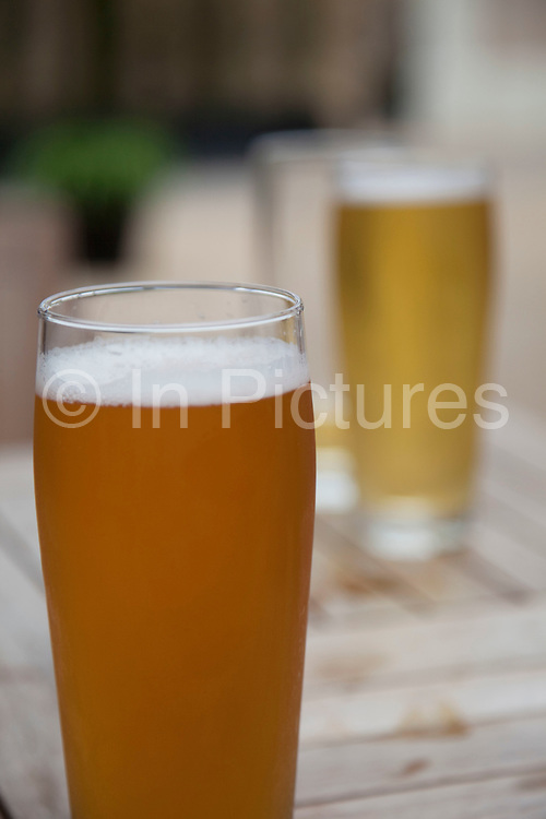 Two pints of beer. One lager, and one ale.