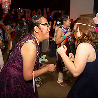 Monica Hanley, left, dances with Bethany Silva at Night to Shine, Friday, Feb. 7 at the New Life Christian Assembly in Pinedale. Silva and her teammates, the Rehoboth girls varsity basketball team volunteered for the event. This year the event had 44 volunteers and 75 guests.