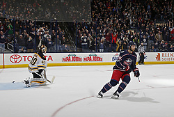 October 30, 2017 - Columbus, OH, USA - Columbus Blue Jackets right wing Oliver Bjorkstrand (28) scores the game-winning goal in the shootout period against Boston Bruins goalie Tuukka Rask (40) at Nationwide Arena in Columbus, Ohio on Oct. 30, 2017. The Blue Jackets won, 4-3. (Credit Image: © Kyle Robertson/TNS via ZUMA Wire)