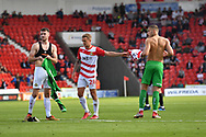 Doncaster Rovers goalkeeper Marko Marosi (13) receives red card and is sent off he changes shirts with Doncaster Rovers midfileder Benjamin Whiteman (8)               during the EFL Sky Bet League 1 match between Doncaster Rovers and Portsmouth at the Keepmoat Stadium, Doncaster, England on 25 August 2018.Photo by Ian Lyall.
