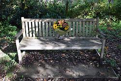 Flowers on memorial bench near Totnes, Devon UK