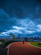 Storm over stadium, NJ City, Weehawken Waterfront Park