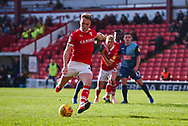 Cauley Woodrow of Barnsley (9) scores a penalty kick to make the score 1-0 during the EFL Sky Bet League 1 match between Barnsley and Wycombe Wanderers at Oakwell, Barnsley, England on 16 February 2019.