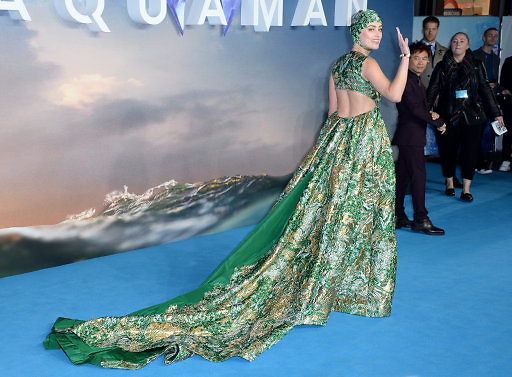 Amber Heard arriving at the World Premiere of Aquaman, Cineworld, Leicester Square, London. Photo credit should read: Doug Peters/EMPICS