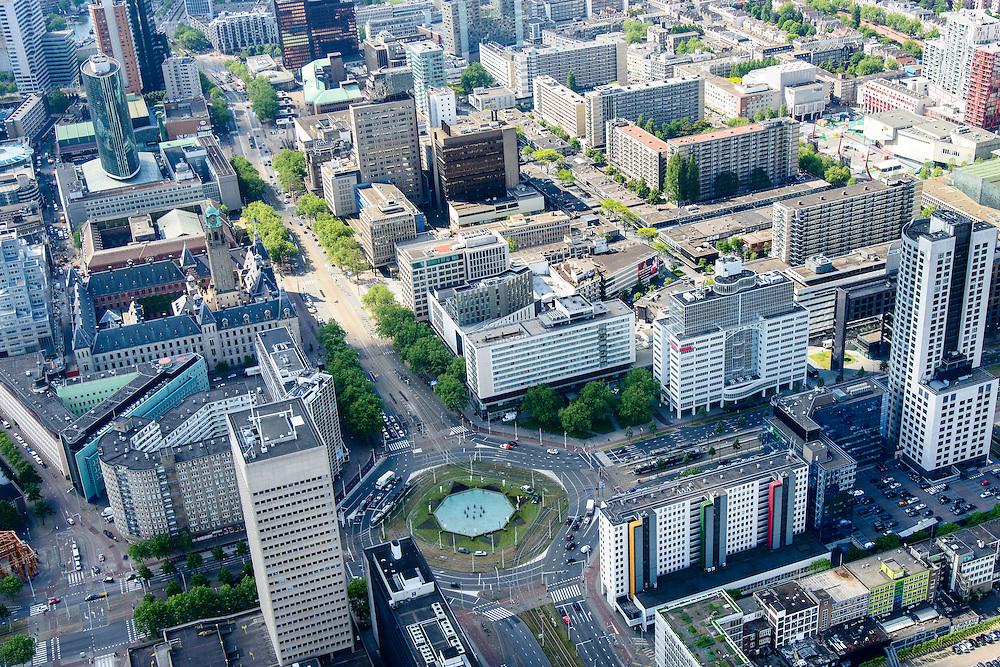 Nederland, Zuid-Holland, Rotterdam, 10-06-2015; Hofplein en Coolsingel met Stadhuis en Beuurs WTC, naar rechts het Weena.<br /> City centre Rotterdam with Town hall on the left.<br /> luchtfoto (toeslag op standard tarieven);<br /> aerial photo (additional fee required);<br /> copyright foto/photo Siebe Swart
