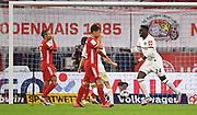 GOAL Celebration 1:1 Tor, Jubel, v.l. Thiago Alcantara (Bayern), Joshua Kimmich, Torschuetze Danny da Costa (Frankfurt)during the Bayern Munich vs Eintracht Frankfurt, German Cup Semi-Final at Allianz Arena, Munich, Germany on 10 June 2020.