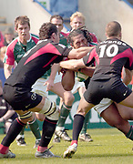 Leicester, Walker Stadium., Leicestershire, 5th April 2004, Heineken Cup, ENGLAND. [Mandatory Credit: Photo  Peter Spurrier/Intersport Images],Heineken Cup, Semi Final, Leicester Tigers vs Stade Toulouse, Walker Stadium, Leicester, ENGLAND: Tiger No 8 Henry Tuilagi goes for the gap between Gregory Lamboley [left] and Frederic Michalak